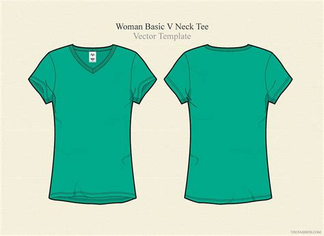 Woman Basic V Neck Tee Illustrations Creative Market Teal T Shirt Template