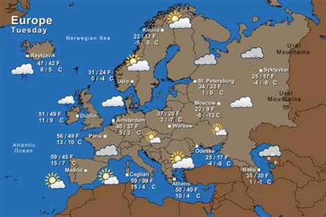 map of europe today weather forecast the times