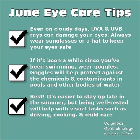 Care Tips 1 by June Eye Care Tips Columbus Ophthalmology Associates