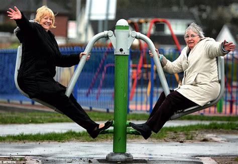 old people swinging playtime for grandma council opens new playground for the