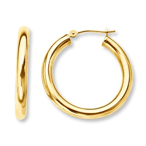 hoop earrings 14k yellow gold 25mm