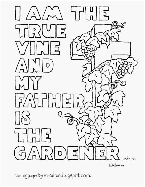 Coloring Page Vine And Branches by Coloring Pages For By Mr Adron I Am The True Vine