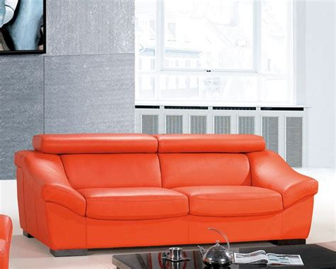 Orange Leather Sofa And Loveseat Italian Leather Sofa European Design In Orange Finish 33ss272