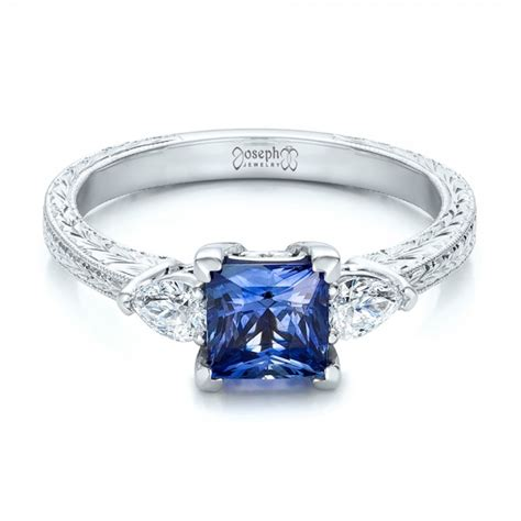 custom three and blue sapphire engagement ring 102046