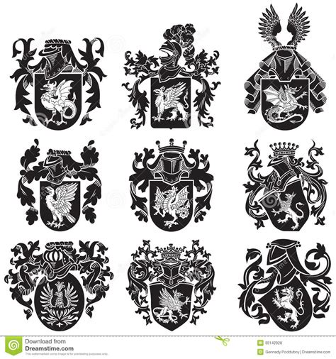set of heraldic silhouettes no2 royalty free stock photos