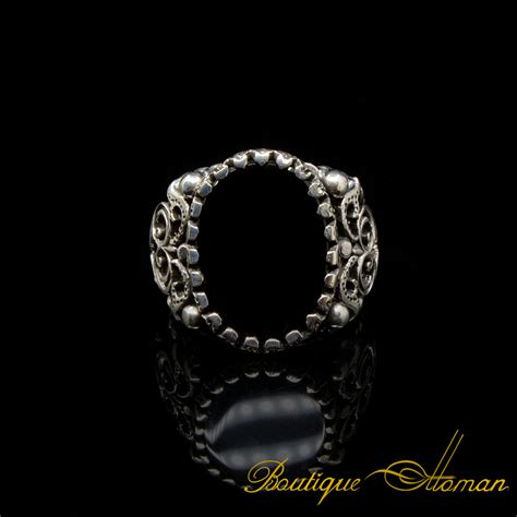 craft collection silver black aqeeq handicraft ring