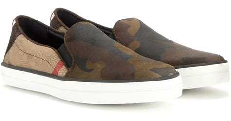 camo slip on sneakers burberry gauden camouflage slip on sneakers in brown lyst