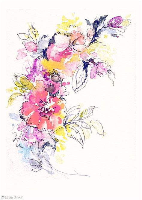 printable watercolor flowers bright watercolor flower painting abstract floral pink red