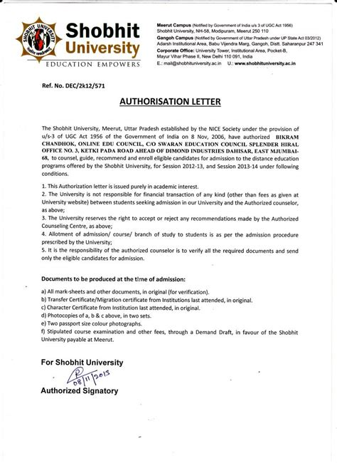 authorization letter council swaran education council authority letters authorization