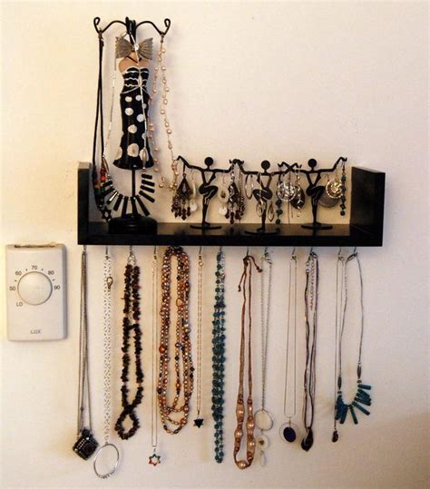 Bathroom Decoration Idea by Wall Mounted Diy Jewelry Shelf Organizer Diyideacenter Com