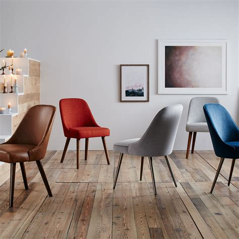 mid century leather dining chair west elm australia