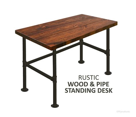 Pipe Standing Desk by Desk Standing Desk Wood Pipe Desk Industrial Desk