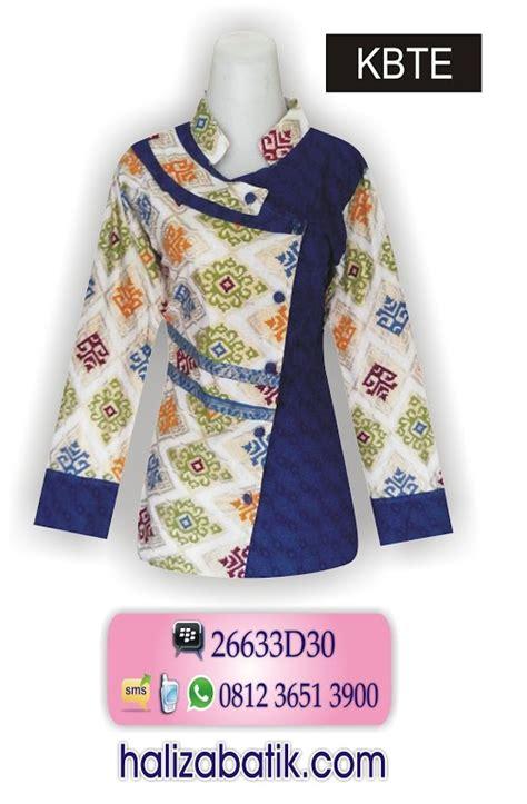 Stripe Kerah Biru Ro Blouse Wanita Katun Biru jual baju batik grosir batik gamis batik dress batik batik sarimbit