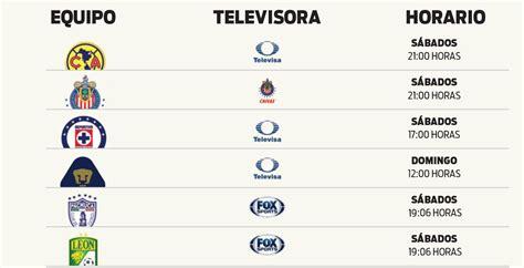 calendario deportivo de tv deportesonline televisa transmitir 225 a siete equipos de la liga mx r 201 cord