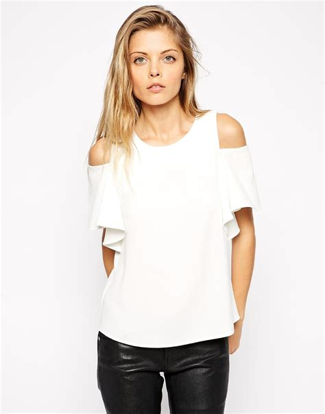 Asos Cold Shoulder Blouse by Asos Crepe Ruffle Sleeve Cold Shoulder Top In White Lyst