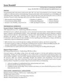 example registered representative resume free sample