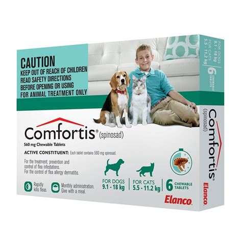 comfortis for puppies comfortis 9 1 18kg green 6pack 560mg
