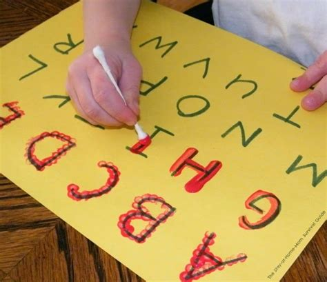 Letter Painting Learning To Write The Alphabet With Cotton Swab Painting The Stay At Home Survival Guide