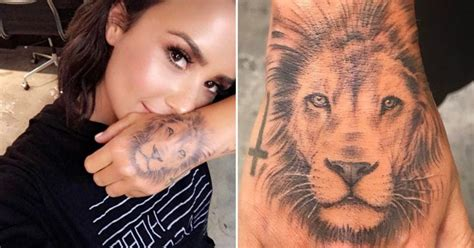 cara delevingne lion tattoo demi lovato denies copying cara delevingne with bold new