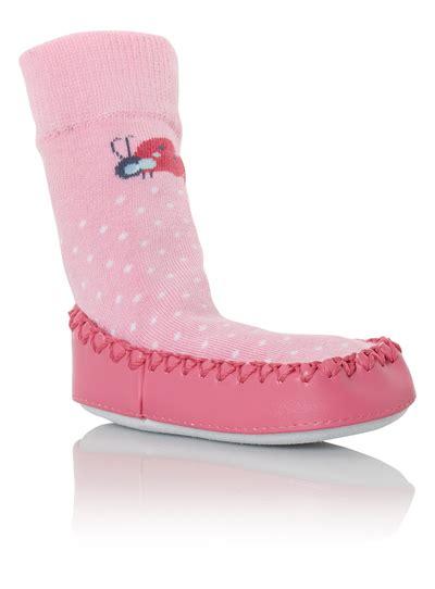 sainsburys slipper boots baby pink moccasin slipper socks 0 24 months tu