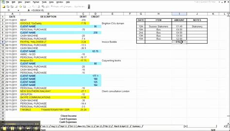 7 Excel Bookkeeping Template Sletemplatess Sletemplatess Simple Bookkeeping Template