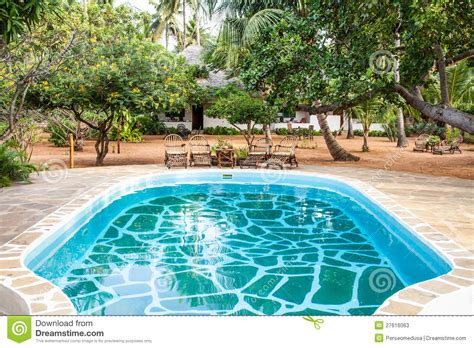 kleines im groã en garten karten swimmingpool im afrikanischen garten stockfotos bild