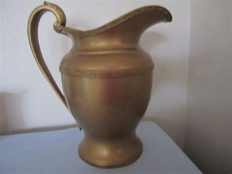 Metal Pitcher Vase by Pitcher Vase Gold Metal 2 Quart Grecian By Cjandsistersvintage