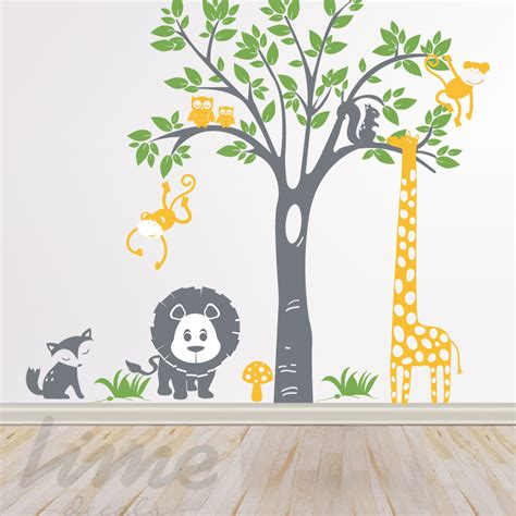jungle safari wall decal lime wall decor