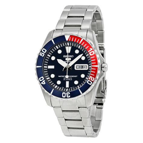 seiko 5 blue diver stainless steel automatic