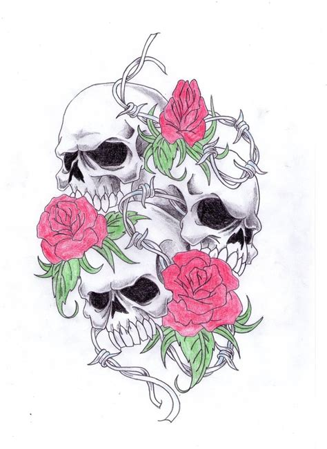 skulls and roses by patrickguitarist on deviantart