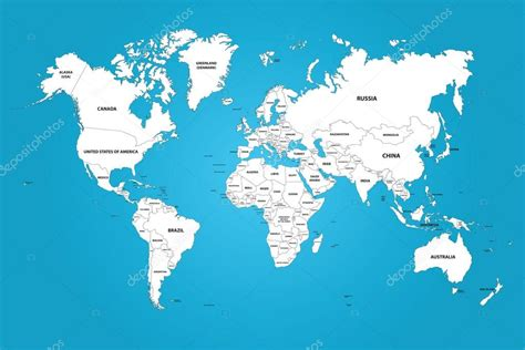 world map with country names the world map with the frontiers and country names stock