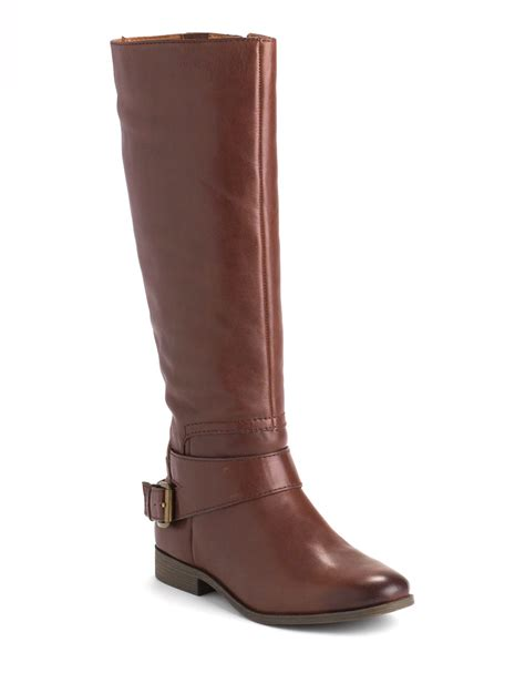 nine west boots nine west tiptop leather boots in brown cognac