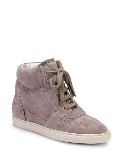 Wedges Bb 08 M0ca common projects basketball suede wedge sneakers in gray lyst