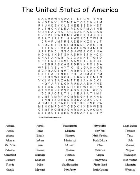 Search United States 50 States Word Search New Calendar Template Site