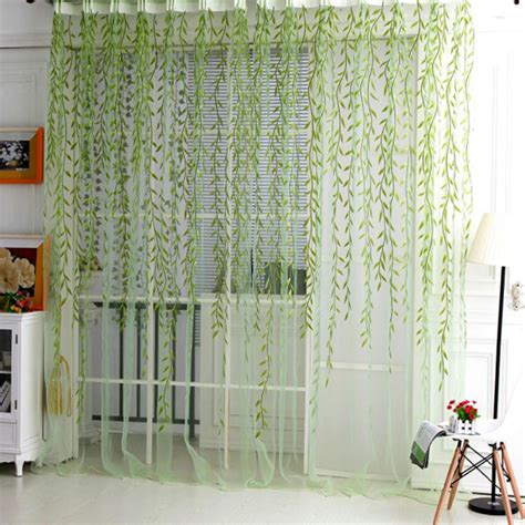 Tree Drapes home textile tree willow curtains blinds voile tulle room