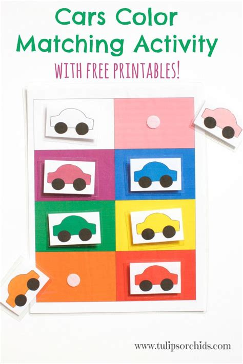 colour themes for preschoolers cars color matching activity free printables tulips