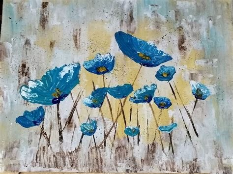 acrylic paint tutorial angela easy palette knife poppies