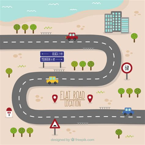 printable play road map road map in flat design vector free download