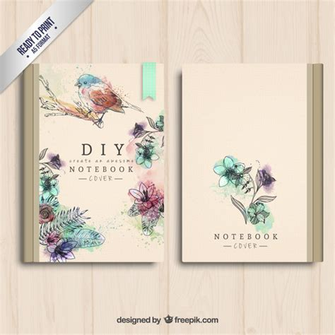 notebook cover design vector free download hand painted notebook cover vector free download