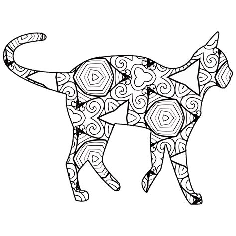 Geometric Cat Coloring Page | 30 free coloring pages a geometric animal book just