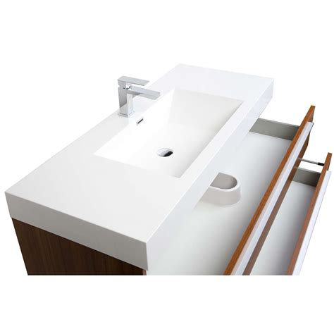47 inch wall mount contemporary bathroom vanity in teak tn