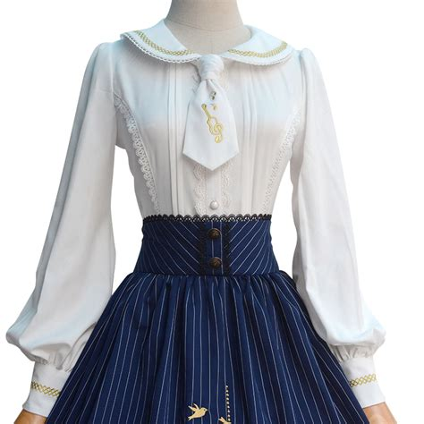Japanese Style Blouse 2017 new japanese style blouse sweet white sleeve embroidered s shirt with