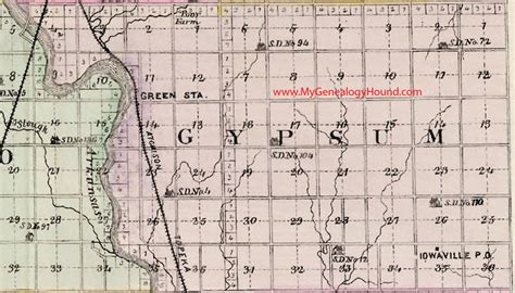 Sedgwick County Number Search Gypsum Township Sedgwick County Kansas 1887 Map