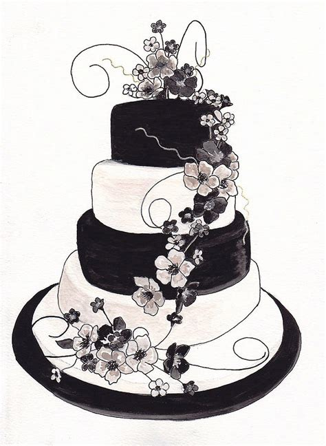 Hochzeitstorte Zeichnung by Black And White Wedding Cake Drawing