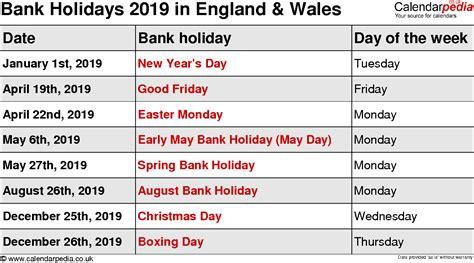 Calendar 2018 Including Bank Holidays Bank Holidays 2019 In The Uk