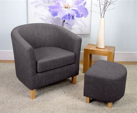 Tub Chair And Stool by Falkirk Charcoal Linen Fabric Tub Chair And Stool