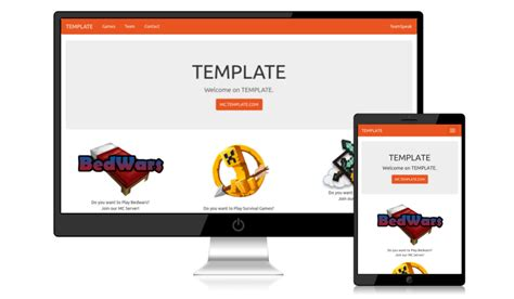 Mc Website Template Html Bootswatch Spigotmc High Performance Minecraft Minecraft Website Template