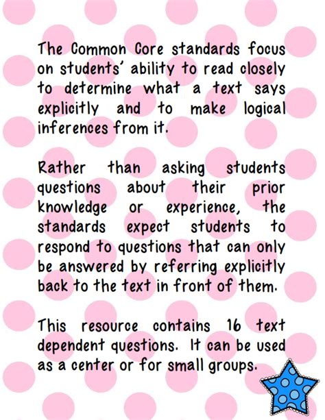 Or Questions Text Ms Third Grade Common Text Dependent Question Prompts