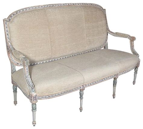 white french sofa antiqued white french taupe sofa couch traditional