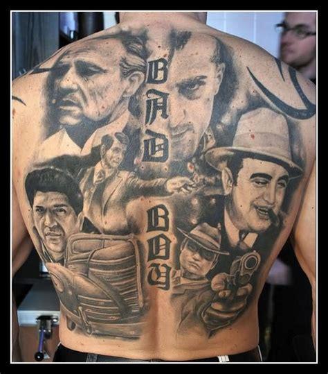 gangsta tattoos for men black and white gangsta on back